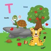 ilustração isolada da letra do alfabeto t-dentes, tigre, árvore. vetor