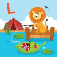 ilustração isolada letra do alfabeto l-leão, folha, joaninha. vetor