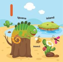 ilustração isolada da letra do alfabeto i-iguana, inseto, ilha. vetor