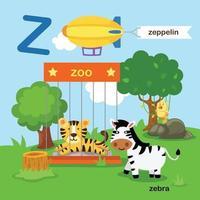 ilustração isolada da letra do alfabeto z-zoo, zeppelin, zebra.vector vetor