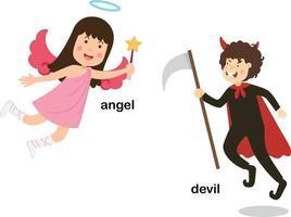 ilustração em vetor diabo e anjo de palavras opostas