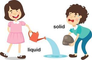 ilustração em vetor líquido e sólido palavras opostas