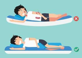melhores e piores posições para dormir, ilustração, vetor