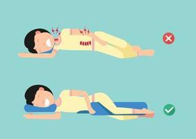 travesseiros ortopédicos, para um sono confortável e uma postura saudável, melhores e piores posições para dormir, ilustração, vetor