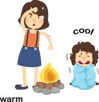 palavras opostas ilustração vetorial quente e legal vetor