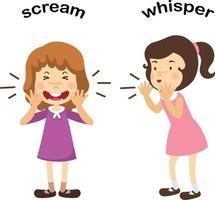 ilustração em vetor oposto sussurro e grito