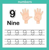 mão count.finger e number, number exercício ilustração vetorial vetor