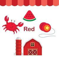 ilustração de vetor de grupo de cor vermelha isolada