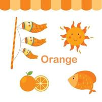 ilustração de vetor de grupo de cor laranja isolado