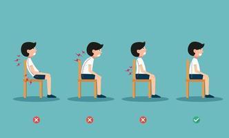 posições certas e erradas para sentar, ilustração, vetor