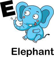 ilustração em vetor e-elefante letra do alfabeto