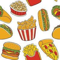 padrão sem emenda de fast food vetor
