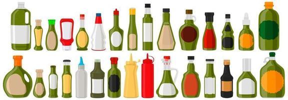 ilustração grande kit garrafas de vidro variadas com molho líquido de pimenta jalapeño vetor