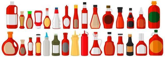 ilustração sobre o tema grande kit garrafas de vidro com molho líquido chili vetor