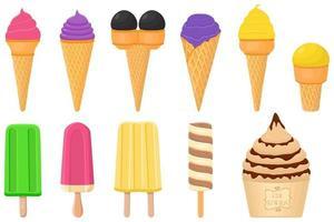 grande kit sorvete picolé diferentes tipos em copo de waffle de cone vetor