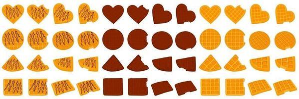 ilustração no tema kit grande diferentes tipos waffle de biscoito com célula vetor