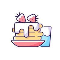 ícone de cor rgb de café da manhã. panquecas doces com bebida de café. pedido clássico de jantar americano. pilha de bolos com creme. ilustração isolada do vetor. refeição de rotina diária desenho simples preenchido vetor