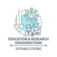 ícone do conceito de organizações de ensino e pesquisa. ilustração de linha fina de ideia abstrata de captação de recursos. apoiar o desenvolvimento do sistema educacional. desenho de cor de contorno isolado vetor. curso editável vetor