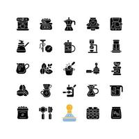 acessórios de café e barista ícones de glifo preto definidos no espaço em branco. máquina de gotejamento. imprensa francesa. preparação de café expresso. aparelho de café. símbolos de silhueta. ilustração isolada do vetor