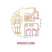 ícone do conceito de perda de peso. perdendo quilos. problemas de doença. plano de tratamento médico. cura diabetes resultados idéia abstrata ilustração linha fina. desenho de cor de contorno isolado de vetor