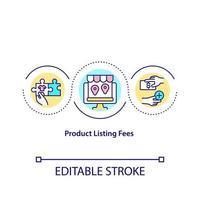 ícone do conceito de taxas de lista de produtos. pagar dinheiro para vender produtos online. preços de listagem de mercado ilustração de linha fina de ideia abstrata. desenho de cor de contorno isolado vetor. curso editável vetor