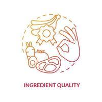 ícone do conceito de qualidade do ingrediente. comer alimentos orgânicos. preparar refeição a partir de produtos naturais. ilustração de linha fina de ideia abstrata de vida saudável. desenho de cor de contorno isolado de vetor