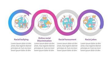 modelo de infográfico de vetor de desigualdade étnica. racista brinca elementos de design de estrutura de tópicos de apresentação. visualização de dados com 4 etapas. gráfico de informações da linha do tempo do processo. layout de fluxo de trabalho com ícones de linha