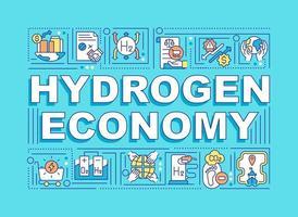 banner de conceitos de palavra economia de hidrogênio. combustível ecológico. infográficos com ícones lineares sobre fundo azul. tipografia criativa isolada. ilustração colorida do contorno do vetor com texto