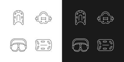 piscina fornece ícones lineares definidos para o modo claro e escuro. kickboard. aqua jogger. óculos de natação. símbolos personalizáveis de linha fina. ilustrações isoladas de contorno vetorial. curso editável vetor
