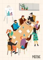 Reunião de negócios. Ilustração de Vectpr com personagens. vetor