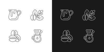 ícones lineares de preparação de café definidos para o modo claro e escuro. jarro de leite para barista. feijão cru. símbolos personalizáveis de linha fina. ilustrações isoladas de contorno vetorial. curso editável vetor