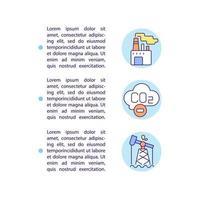 ícones de linha do conceito de descarbonização da indústria com texto. modelo de vetor de página ppt com espaço de cópia. folheto, revista, elemento de design de boletim informativo. ilustrações lineares de tecnologia de hidrogênio em branco