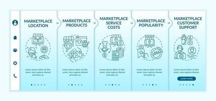 modelo de vetor de integração de parâmetros de escolha do mercado. site móvel responsivo com ícones. passo a passo da página da web telas de 5 etapas. suporte ao cliente, conceito de cor de localização com ilustrações lineares