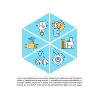 ícones de linha de conceito de tecnologias de hidrogênio com texto. modelo de vetor de página ppt com espaço de cópia. folheto, revista, elemento de design de boletim informativo. ilustrações lineares de eco energia em branco