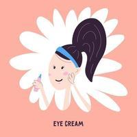 mulher aplicando creme de limpeza na área ao redor dos olhos, ícone isolado no fundo. ilustração vetorial no estilo de desenho de mão dos desenhos animados. cuidados com a pele facial coreana. vetor