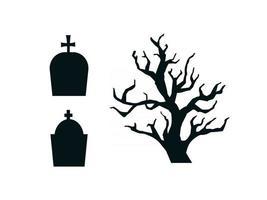 silhuetas negras de contorno de lápides e conjunto de árvores sombrias. monumentos fúnebres com cruzes e árvores isoladas no fundo branco. ilustração vetorial vetor