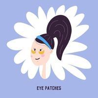 mulher com manchas na área ao redor dos olhos, ícone isolado no fundo. ilustração vetorial no estilo de desenho de mão dos desenhos animados. cuidados especiais da pele do rosto coreano. vetor