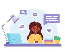 garota indiana estudando com o computador. aprendizagem online, de volta ao conceito de escola. vetor