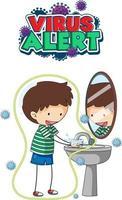 design de fonte de alerta de vírus com um menino lavando as mãos em um fundo branco vetor
