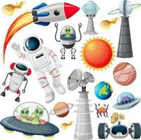 conjunto de vários objetos espaciais em fundo branco vetor