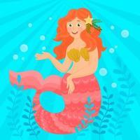 sereia fofa nadando debaixo d'água vetor