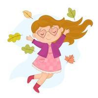 garota está pulando e jogando folhas de outono para cima e com humor de outono vetor