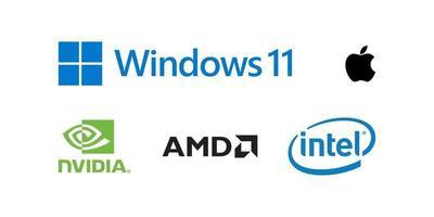 logotipos de marcas de computador. coleção internacional de ícones editoriais de tecnologia vetor