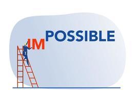 empresário mudando impossível para palavra possível sobre fundo azul vetor