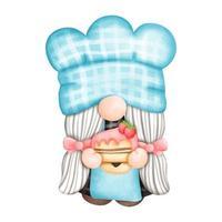 pintura digital aquarela gnomo chef, padeiro gnomo na cozinha. ilustração vetorial vetor