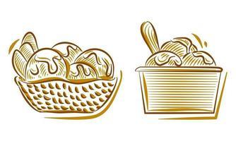 conjunto de ilustração de desenho de mão de sorvete para elemento de plano de fundo de logotipo de marca vetor