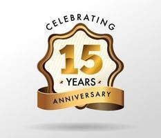 Logotipo de comemoração de aniversário de 15 anos. conjunto de logotipo de aniversários vetor