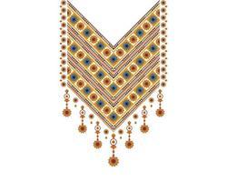 padrão oriental étnico geométrico. projeto de bordado de colar para têxteis, moda mulher, plano de fundo, papel de parede, roupas e embalagens. ilustração vetorial. vetor