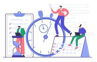conceito de gestão e planejamento eficazes do tempo. organização do fluxo de trabalho. ilustração plana vetor