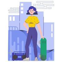linda garota com um skate. ilustração vetorial plana vetor